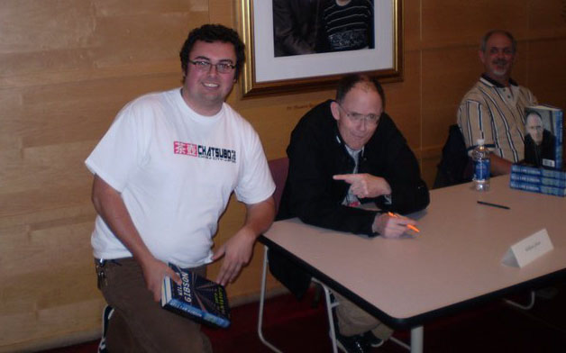 William Gibson meets a fan wearing a Chatsubo Bar T-shirt from Memetic Tees