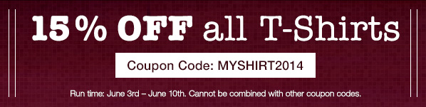 15% off all t-shirts