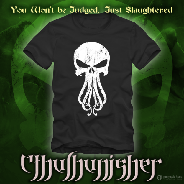 b99e65ff2 Punisher and Cthulhu Mashup Tshirt - Memetic Bot